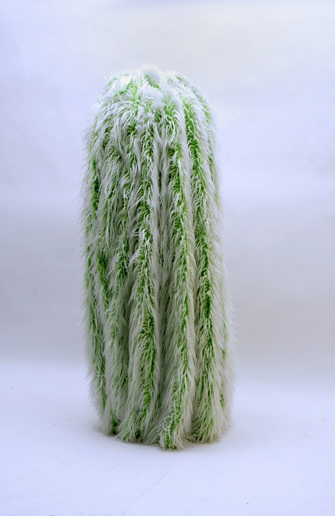 green fur cactus floor sculpture