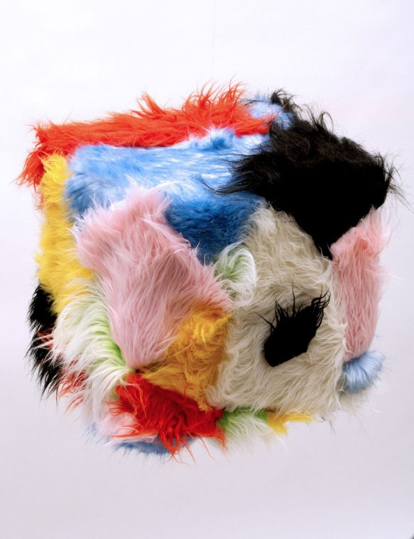 multicolored fur box hanging sculpture