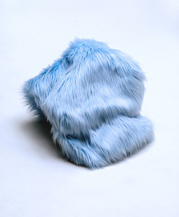 blue fur mound sculpture