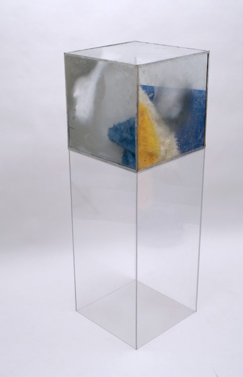 semi-reflecting mirror box on clear acrylic pedestal