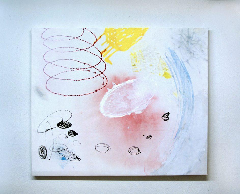 floating white amoeba painting