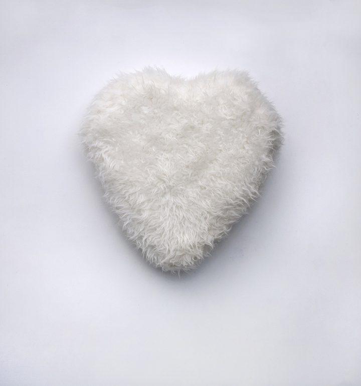 white heart fur wall sculpture