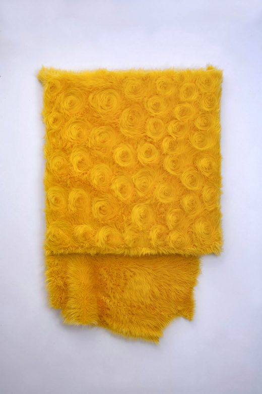 yellow fur square wall piece with tail