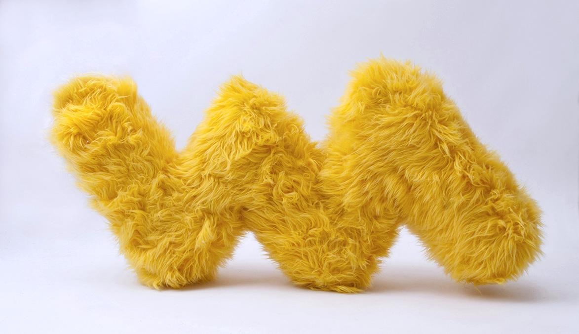 yellow fur zig zag sculpture