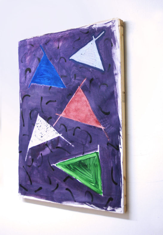 A casualism painting with 5 triangles on a purple background