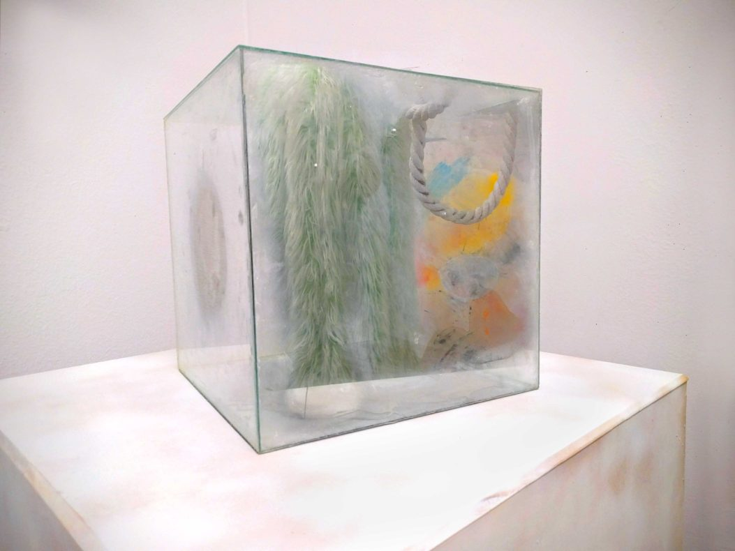 small semi-reflecting mirror cube