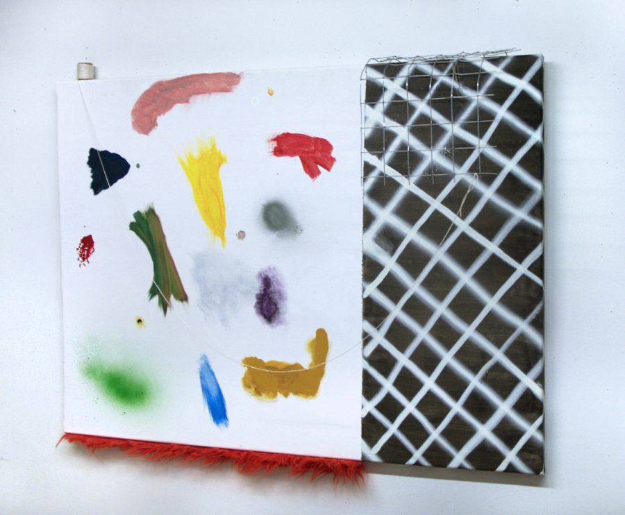 a multicolored painting on white with a fence shape and string