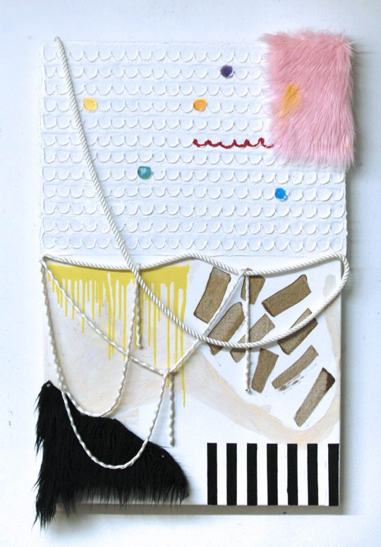 A composition with nylon rope, black fur, pink fur, and a bar code