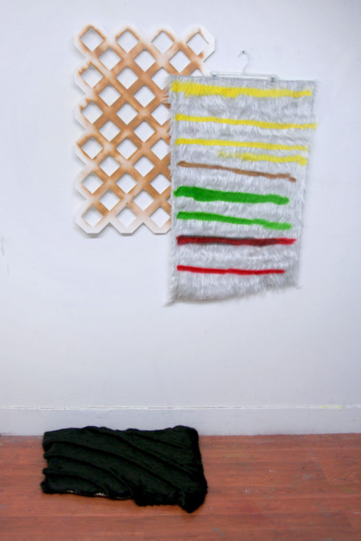 composition of striped fur, plastic lattice, and black formed fur