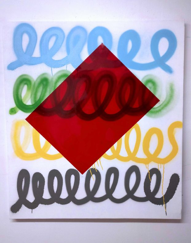 Curly Q spray paint painting with a red rectangle