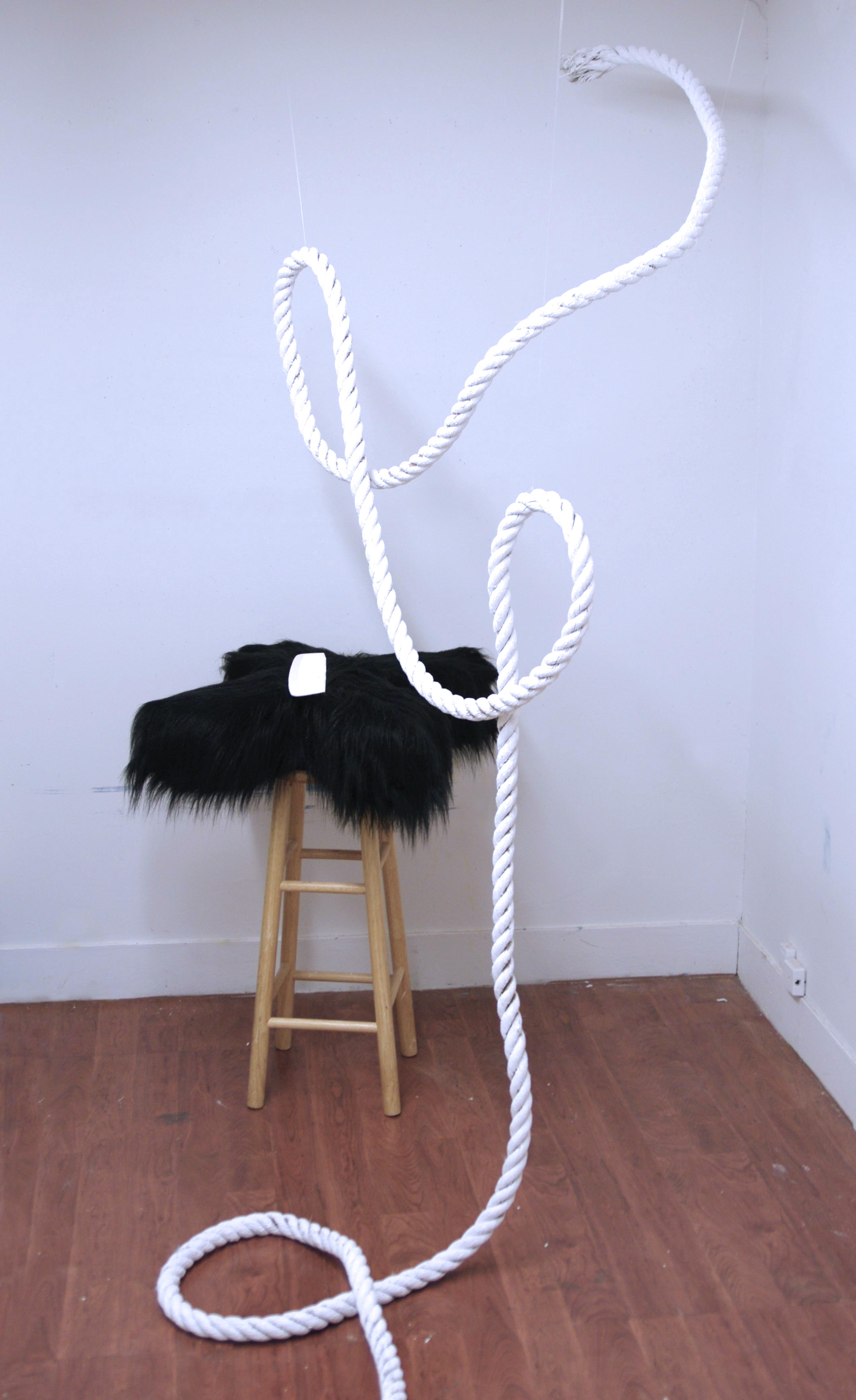 A white rope hanging with two loops and a black fur x on a stool