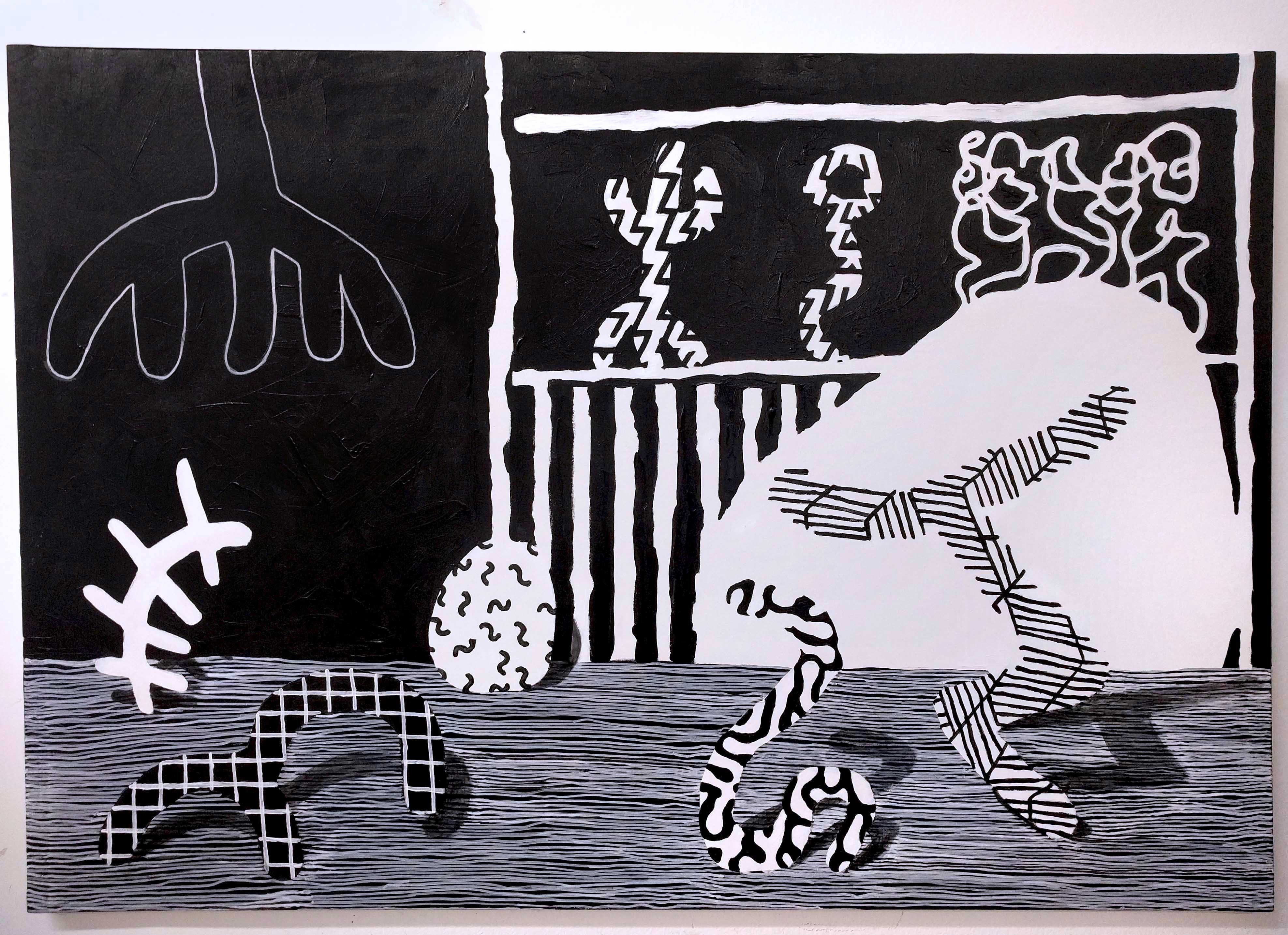 black and white forms with different patterns dancing in a painting