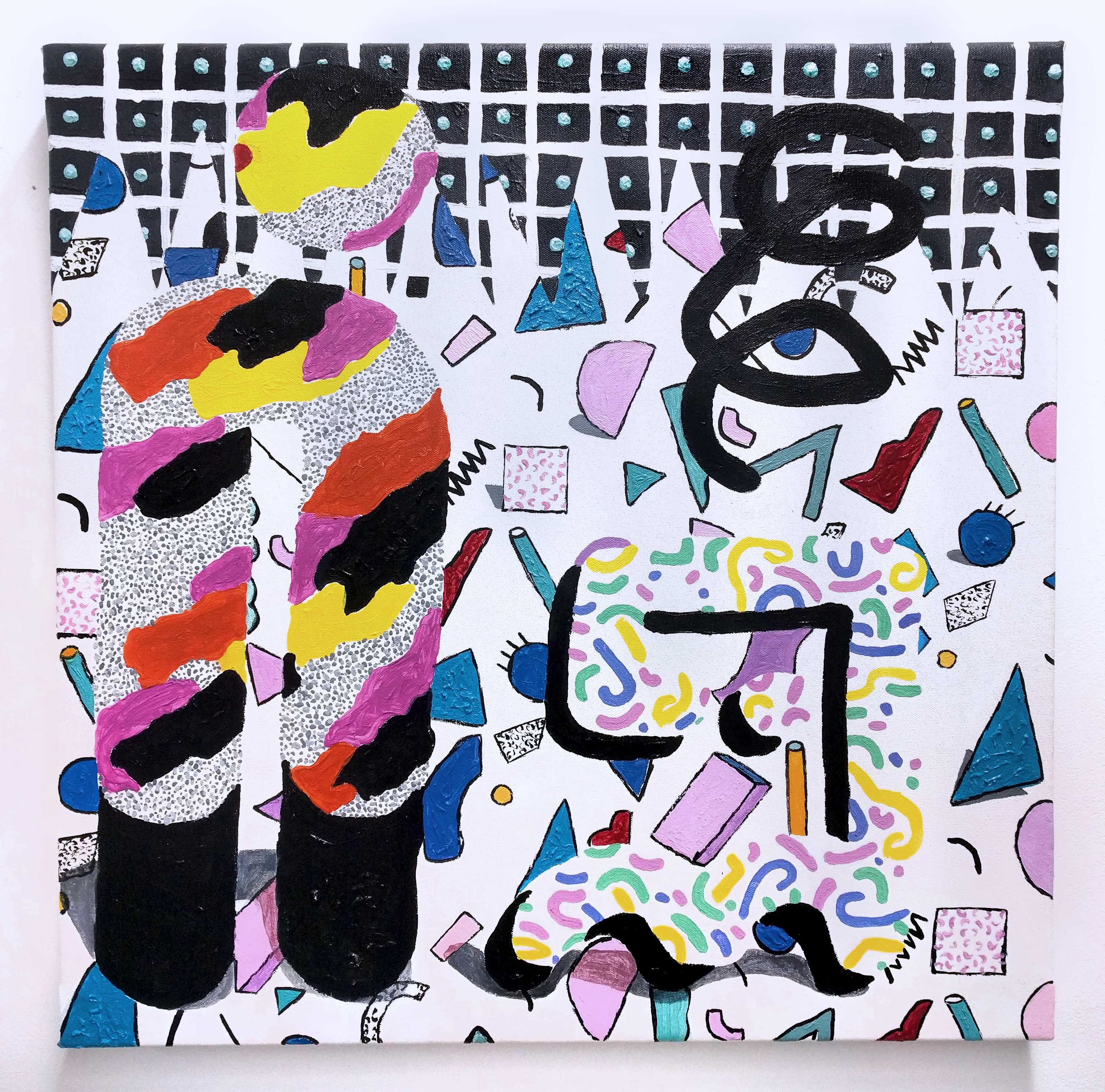 An acrylic painting of a tall abstract figure and a short squiggle figure. Each are made of colorful patterns