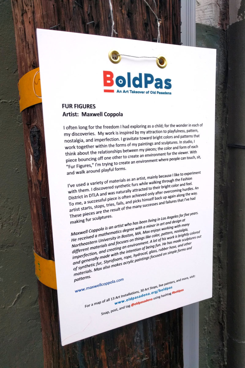 an artist statement of Maxwell Coppola's fur figures at BoldPas
