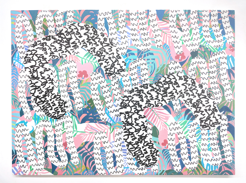 colorful painting of two black curl m shapes with squiggles in a jungle pattern setting